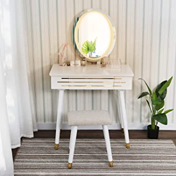 Oval Mirror ARTETHYS White Dressing Table with LED Light Adjustanble Brightness Mirror Makeup Table Stool Set Modern Dresser Vanity Cushioned Stool with Makeup Organizer