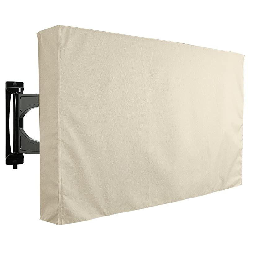 Outdoor TV Cover, Beige Weatherproof Universal Protector for LCD, LED, Plasma Television Sets - Compatible with Standard Mounts and Stands. Built in Remote Controller Storage Pocket