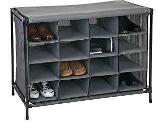 Simplify 16 Pair Stackable Shoe Rack Organizer with Cover for Closet Bedroom & Entryway, Grey
