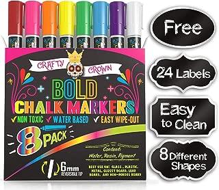 Liquid Chalk Markers for Blackboards - Bold Color Dry Erase Marker - Chalk Markers for Chalkboard Signs, Windows, Blackboard, Glass - 6mm Reversible Tip (8 Pack) - 24 Chalkboard Labels Included