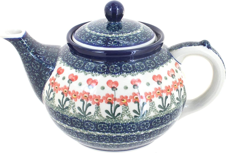 1 year warranty Blue Rose Polish Pottery Peach Medium Teapot Sale Posy