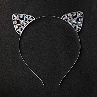 MOPOLIS Cat Ear Rhinestone Headwear Lovely Glitter Hair Band Girls Costume Party Cosplay | Color - Silver