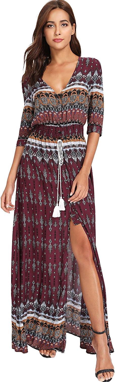Milumia Women's Button Up Split Floral Print Flowy Party Maxi Dress Large Red2
