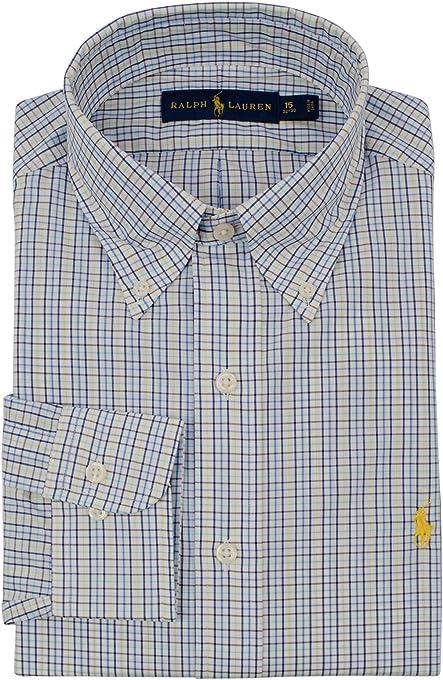 Ralph Lauren Men's Classic Fit Plaid Long Sleeve Oxford Dress Shirt