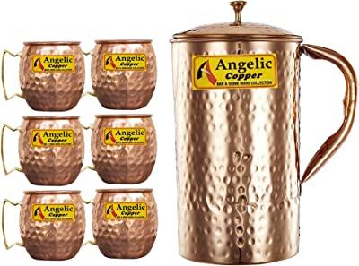 Angelic Copper Handmade Jug with Cup Set, 520 ml, Set of 6, Brown