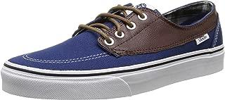 Vans Brigata Leather/Plaid Estate Blue Men's Classic Skate Shoes Size 6.5 Women's 8