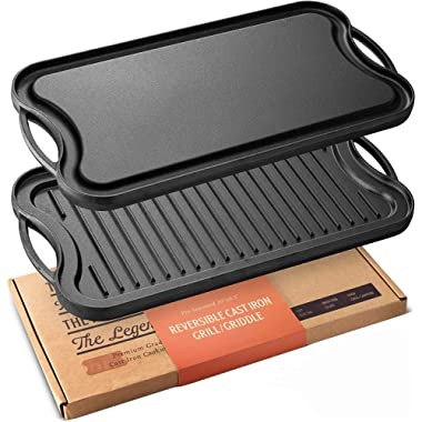 """Legend Cast Iron Griddle for Gas Stovetop   2-in-1 Reversible 20"""" Cast Iron Grill Pan For Stovetop with Easy Grip Handles   Use On Open Fire & In Oven   Lightly Pre-Seasoned Gets Better with Each Use"""