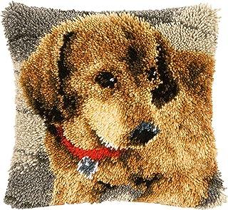 Kits de crochet pour adultes pour adultes DIY Jetez la couverture de coussin avec motif de chien de chien pré-imprimé Kits...
