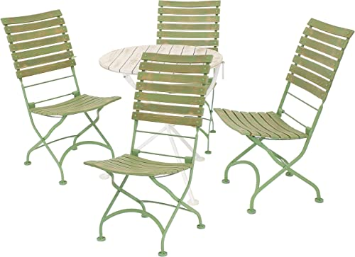 lowest Sunnydaze Cafe Couleur Shabby Chic Chestnut new arrival Wooden Folding Bistro Table and Chairs discount - 5-Piece Set - Indoor or Outdoor Use - European Style - Green outlet online sale