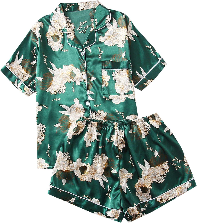 SheIn Women's Plus Satin Sleepwear Short Sleeve Top and Shorts Pajama Set