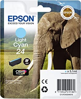 Epson Original 24 Tinte Elefant (XP 750 XP 850 XP 950 XP 55 XP 760 XP 860 XP 960 XP 970, Amazon Dash Replenishment fähig) hell cyan