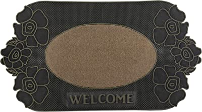 """Superio Non-Slip Welcome Doormat for Entry, Indoor Outdoor, Heavy Duty, Waterproof, Easy Clean, Low-Profile Mats for Entry, Garage, Patio, High Traffic Areas, Beige Flower, 18""""x31"""""""