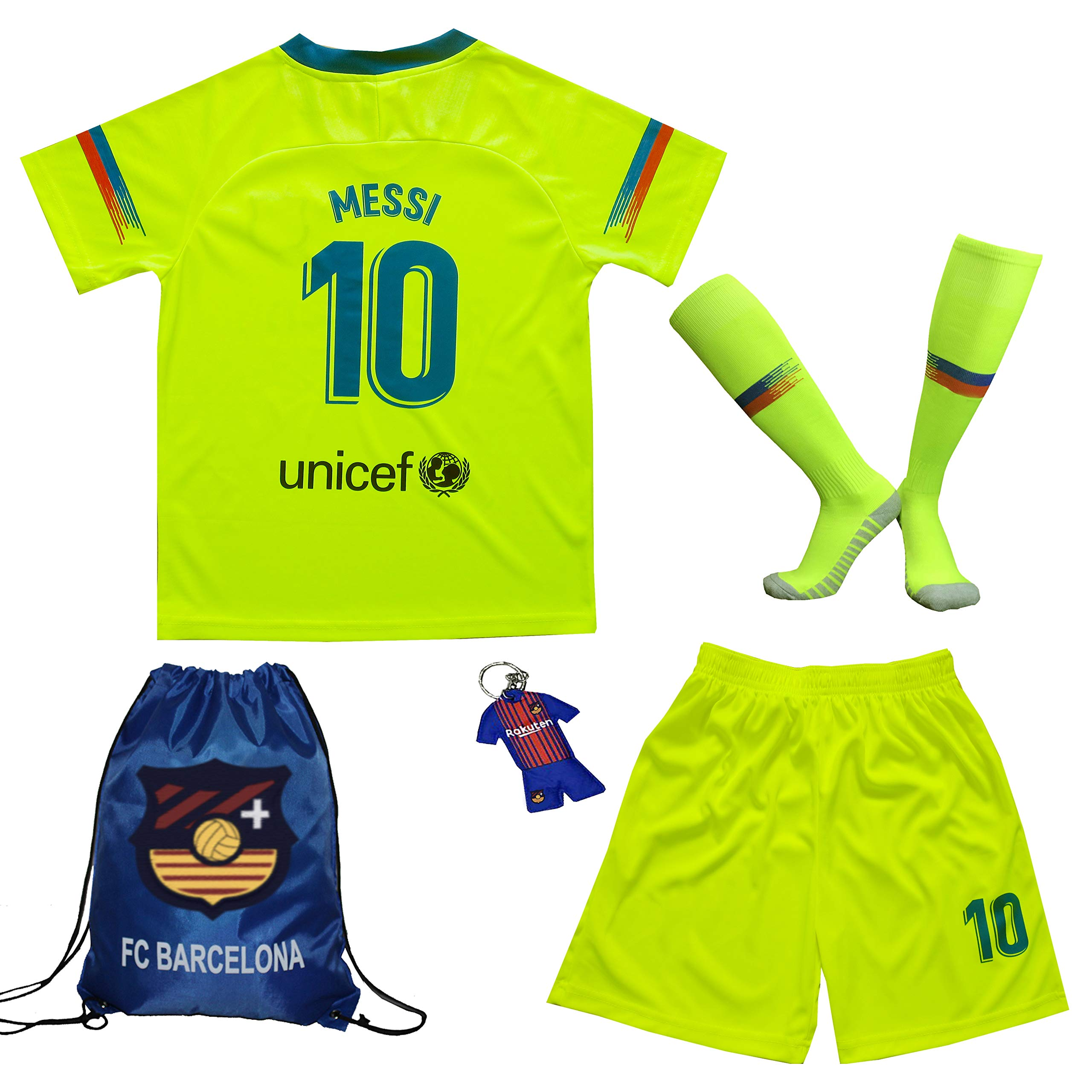 BIRDBOX 青年运动装 Barcelona Leo Messi 10 儿童足球运动衫/短裤包钥匙扣足球袜套装