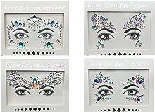 Maquillali Gemas Facial, Face Jewels Decoracion, Rhinestone, 4 Piezas de Tatuajes de Cristales Adhesivos Brillantes (Diseño-2)