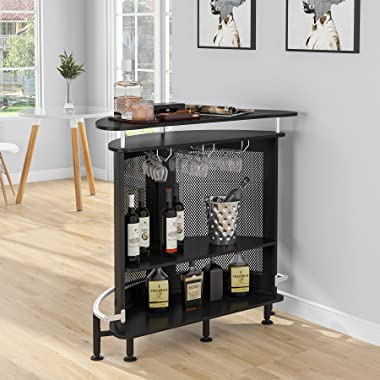 Tribesigns Bar Unit with Wine Glass Holders, 3 Tier Home Liquor Bar Table with Storage, Bar Modern Cabinet for Home/Kitchen/B