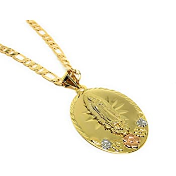 TWJC 14k REAL Two Tone Gold 2 Tone Gold Religious Our Lady of Guadalupe Charm Pendant