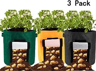 Alapaste 3 Pack Grow Bag 15 Gallon Potato Plant Grow Container Felt Waterproof Garden Planter Bag with Handles for Grow Multi-Species Vegetables Carrot,Tomato