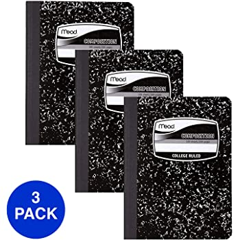 Mead Composition Books, Notebooks, College Ruled Paper, 100 Sheets, Comp Book, Black Marble, 3 Pack (38111)