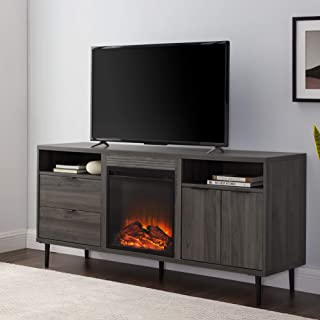 """Walker Edison Furniture Company Modern Wood Fireplace Stand with Cabinet Doors and Drawers 65"""" Flat Screen Universal TV Console Living Room Storage Shelves Entertainment Center, 60 Inch, Slate Grey"""