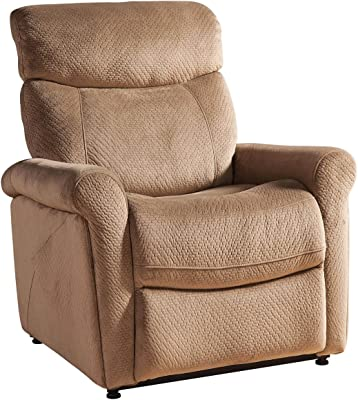 AC Pacific Contemporary Transitional Steel Rail Living Room Power Reclining Gaming Chair, Light Brown
