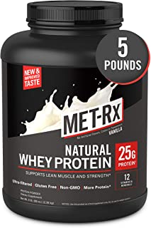 MET-Rx Natural Whey Protein Powder, Vanilla, 5 lb, Easy Mix Protein Powder, 23 g Protein, 5g BCAAs from Ultra Filtered Whe...