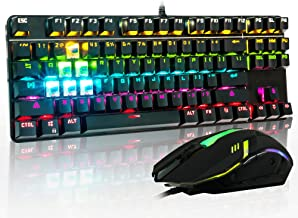 CHONCHOW Rainbow LED Backlit Mechanical Gaming Keyboard and Mouse Combo Wired USB Compact 87-Keys Blue Switches Mechanical RGB Gaming Keyboard and Mouse Compatible with Windows PC Gamers(Black)