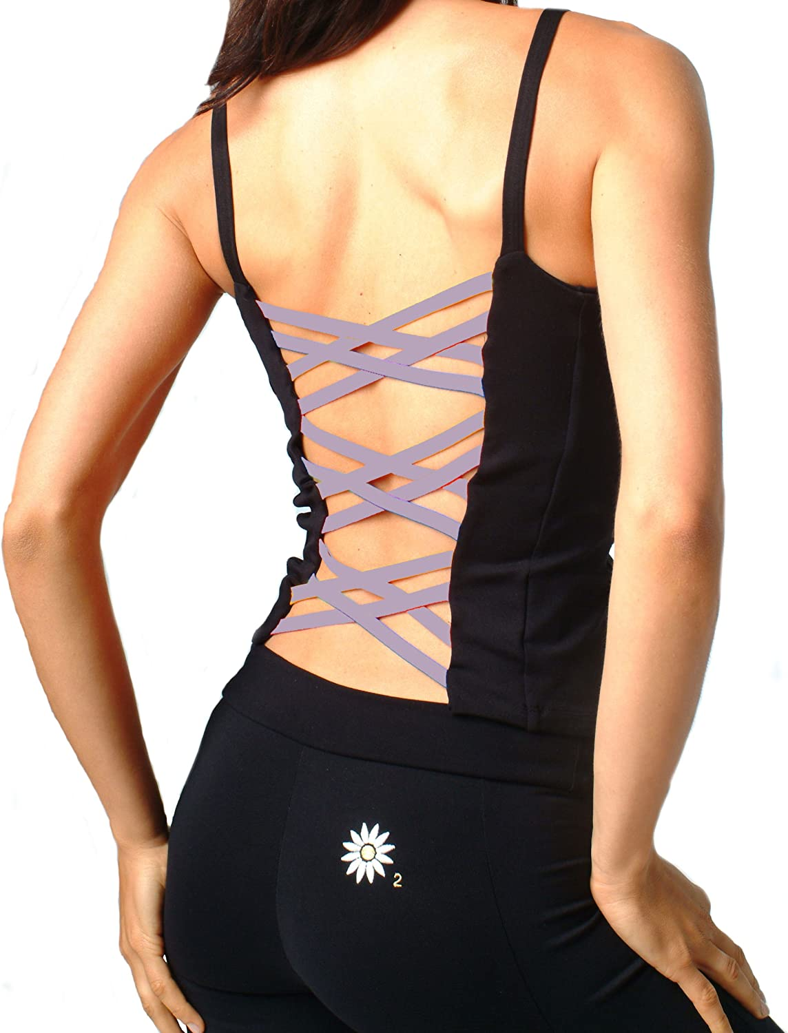 trust Margarita - Activewear Top Black with Online limited product O Purple-Ribbon Back