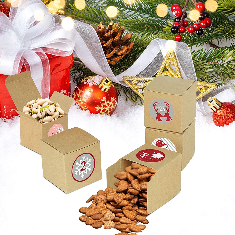 DIY Advent Calendar 24 Advent Calendar Stickers SSYING Advent Calendar Box 24 Christmas Kraft Paper Boxes Christmas Countdown Calendar Fill Your Own Advent Calendars for Christmas Decorations