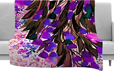 Kess InHouse EBI Emporium Floral Fiesta Lavender Painting Watercolor Throw 80 x 60 Fleece Blanket