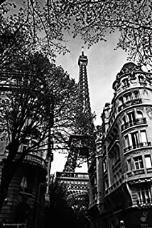 Poster Service Eiffel Tower Poster, 24-Inch by 36-Inch, Black and White