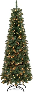 Best Choice Products 7.5ft Pre-Lit Hinged Fir Artificial Pencil Christmas Tree w/ 350 Warm White Lights, Foldable Stand, Green