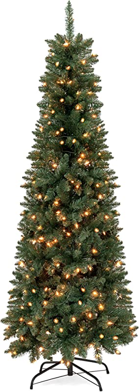 Best Choice Products 6 5ft Pre Lit Hinged Fir Artificial Pencil Christmas Tree With 250 Warm White Lights Foldable Stand Green