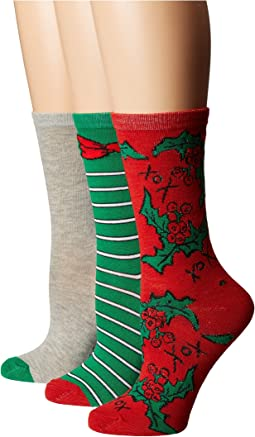 3-Pack Holiday Crew Socks Gift Box