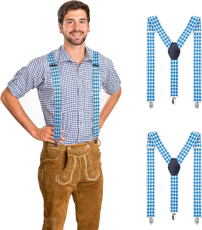 codree 2 PCS Oktoberfest Suspenders for Men, Beer Festival Suspenders, 1.4