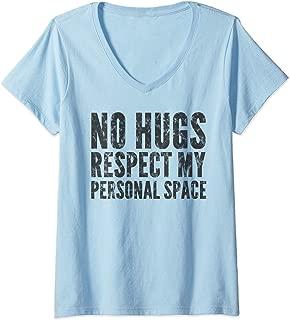 Womens No Hugs Respect My Personal Space Dark V-Neck T-Shirt