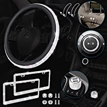 One Sight 7 Pack Bling Car Accessories Set, Bling Rhinestone Steering Wheel Covers for Women Universal Fit 15 Inch, 2 Blin...