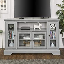 """WE Furniture Traditional Wood Stand for TV's up to 56"""" Living Room Storage, Grey"""