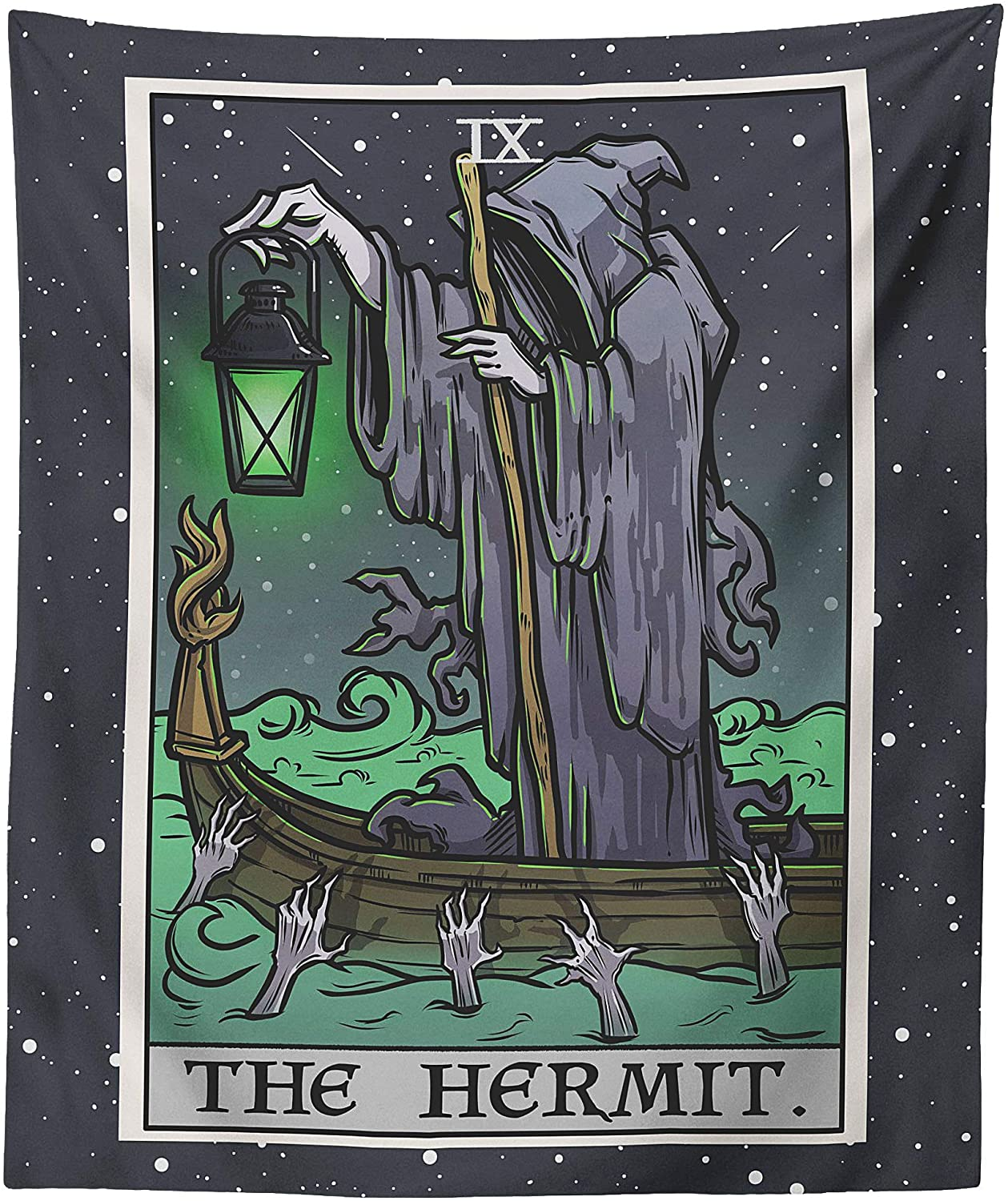 The Hermit Tarot Card Tapestry - Grim Reaper - Gothic Halloween Home Decor Wall Hanging (60