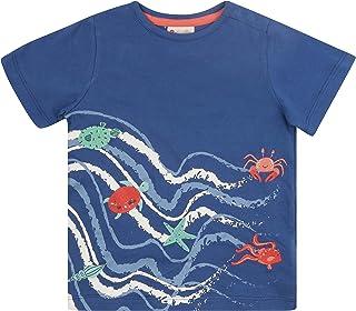 Piccalilly T-shirt à manches courtes pour enfant Motif vagues de mer Violet