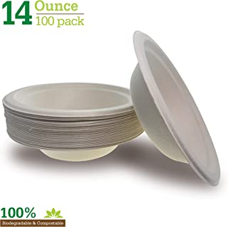 Compostable Biodegradable Brown 14 oz. Paper Bowls [100-Pack] Heavy-Duty Quality Natural Disposable Bagasse, Eco-Friendly. Made of Sugar Cane Fibers.