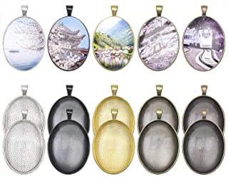 Penta Angel 10Pcs 5 Colors Oval Bezel Pendant Trays Bezel Setting Trays with 10Pcs Clear Glass Dome Cabochon for DIY Craft Photo Jewelry Making (Oval-20Pcs)