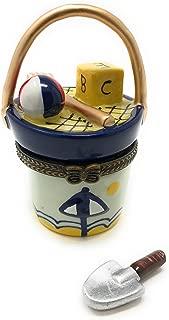 Art Gifts Beach Sand Bucket Porcelain Trinket Box with Tiny Trinket Inside, by, 1.75 Round