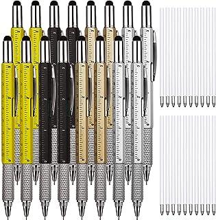 16 قطعه قلم ابزار هدیه ای قلم 6 در 1 قلم ابزار چند منظوره Tech Tool با خط کش ، Levelgauge ، Ballpoint Pen و Pen Refills ، هدایای منحصر به فرد برای مردان (طلایی ، سیاه ، نقره ای ، زرد)