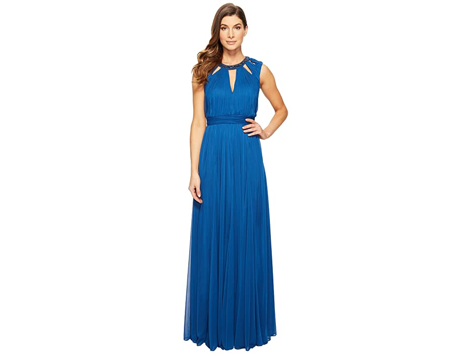 Adrianna Papell Shirred Stretch Tulle Dress with Beaded Necklace Bodice Cut Outs (Sapphire) Women