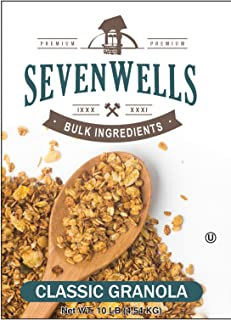 Sevenwells Classic Granola Bulk Packaging - Oats-N-Honey Sweet Crunchy Granola - Premium Quality Commercial Ingredients - OU Kosher Certified - 10 Lbs