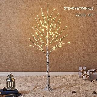 comprar comparacion Hairui Árbol Abedul Preiluminado de 120CM y 72 Leds para la Decoración del Hogar Árbol de Navidad Blanco con Luces LED de ...