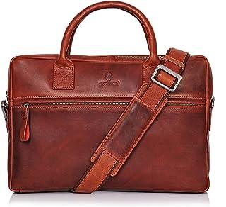 DONBOLSO Notebooktasche Marseille 13,3 Zoll Leder I Umhängetasche für Laptop I Aktentasche für Notebook I Tasche für Damen und Herren Rotbraun