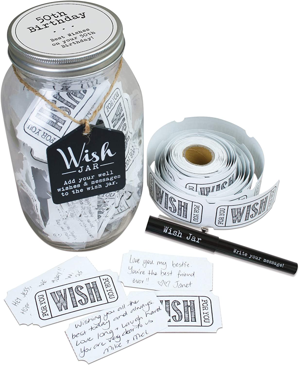Top Shelf Mesa 4 years warranty Mall 50th Birthday Wish Jar With Pen Tickets 100 and Deco