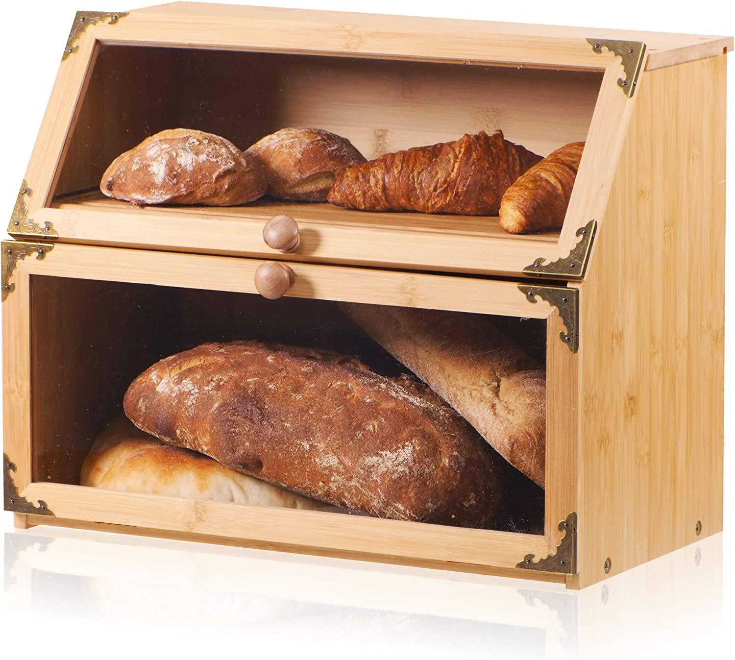 Bagels Double Layer Bamboo Bread Box for Kitchen Countertop Extra Large with Cutting Board Self-Assembly Buns Bread Storage Container with Clear Windows Holds Several Loaves of Homemade Bread