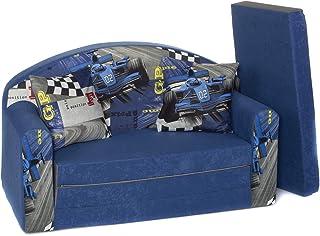 Canapé Bebe Enfant Multifunction Sofa lit + Coussin + Pouf Mousse de Meubles ((1RB) Red Bull Navy)